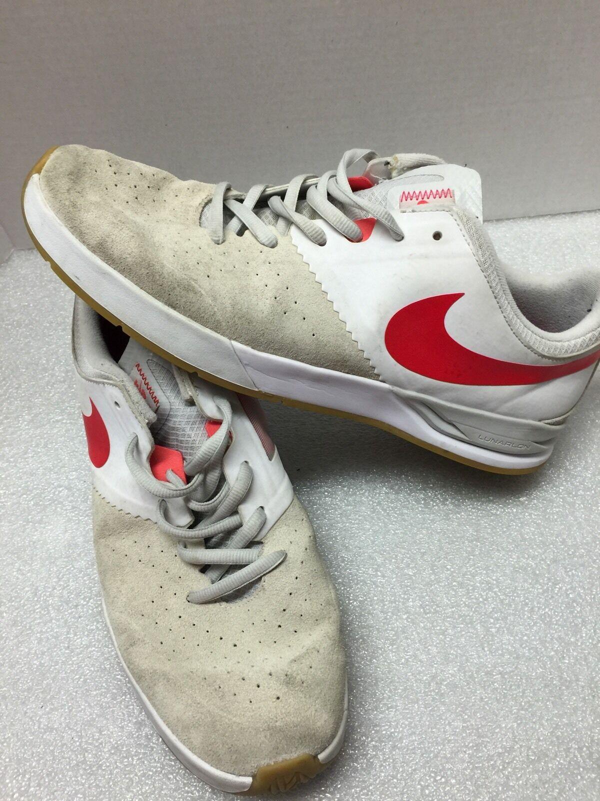 Uomo nike sb scarpe taglia 14 lumarlon white w / neon kb060817 arancione
