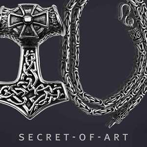 Silber 925 Thorhammer Set Anhänger + Kette Wikinger Thor Mjolnir Mjölnir Amulett