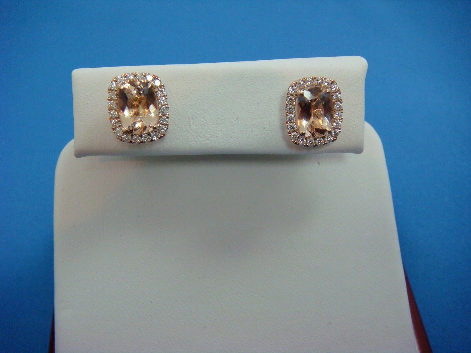 f0330c8f651c HIGH END 2.50 CT PEACH MORGANITE   0.50 CT HALO DIAMONDS 14K pink gold  EARRINGS