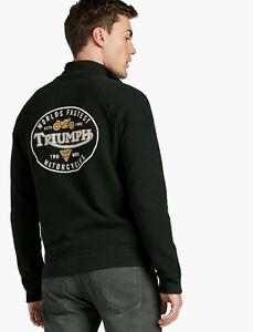 Lucky-Brand-Triumph-Motorcycles-Men-s-Panel-Full-Zip-Hood-Jacket-Black-NEW-M