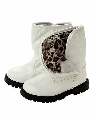 GIRLS WHITE PATENT QUILTED WARM FUR LINED CASUAL WINTER ANKLE BOOTS UK SIZE 3-7