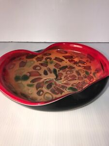 Italian-Murano-Hand-blown-Venetian-Art-Glass-Bowl-TUTTI-FRUTTI-9-x-8