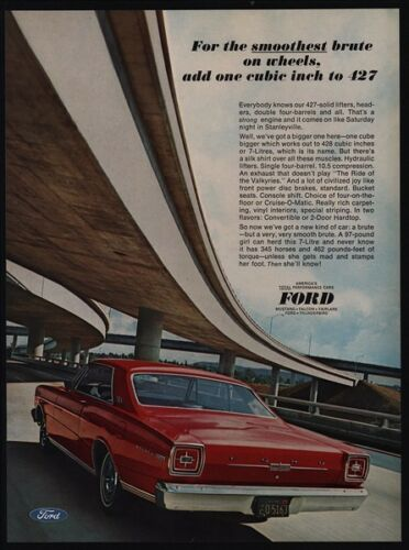 1966 FORD GALAXIE 428 V8 Red Sports Car VINTAGE AD Smoothest Brute On Wheels