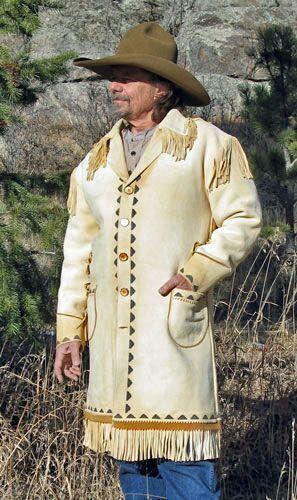 Heren Weiß Western Style Wildleder lange Mantel handgefertigte Cowboy Fringe Pe