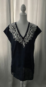 TORY BURCH Cover up Linen Dress Tunic Top Caftan Navy Linen White Embroidery S