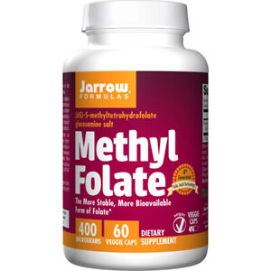Methyl-Folate-400mcg-x-60Caps-Heart-Energy-Headaches-Mood-Jarrow-Formulas