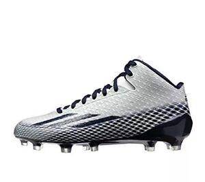 NEW Mens ADIDAS Adizero 5 Star 3.0 Mid White Navy Molded Football ... 89b274e99