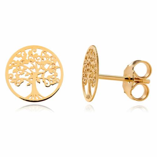 Paar Ohrstecker Lebensbaum 585 Gelbgold 14 Karat Gold Ohrringe 10mm Ohrschmuck