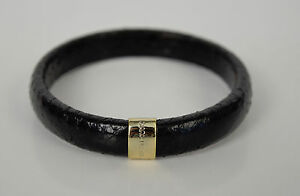 Marc-Jacobs-Collection-Snakeskin-Leather-Print-Black-Bangle-Cuff-Bracelet-New
