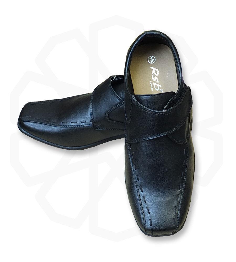 uk boys slip on black formal shoes communion wedding prom