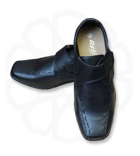 Uk Boys Slip On Black Formal Shoes Communion Wedding Prom For Suits
