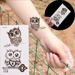 Hibou-Tatouage-Arm-Body-Art-Autocollant-de-tatouage-impermeable-RK