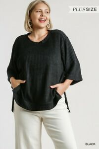 Umgee-Black-Ribbed-Knit-3-4-Sleeve-High-Low-Hem-Top-Plus-Size-XL-1XL-2XL