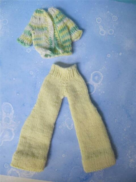 vtg '70s Barbie Sweater Pants Clothes Handmade Crochet Outfit Baby Yellow/Green