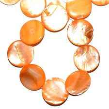 MP1577L Orange Mother of Pearl 30mm Flat Round Gemstone Shell Beads 16""