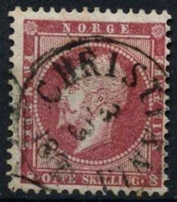 Norway 8sk Dull Lake King Oscar I Used #d75766 Flight Tracker Norway 1856-1860 Sg#11
