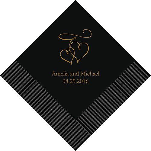 300 Double Hearts Personalized Wedding Luncheon Napkins