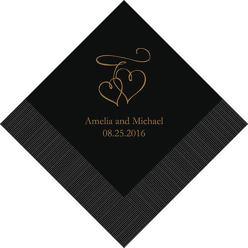 300 Double Coeurs personnalisé mariage Déjeuner Serviettes