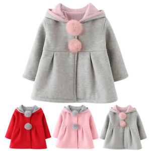 ec6e4b8eba93 Winter Warm Baby Kids Girls Cute Cartoon Hooded Rabbit Ear Coat ...