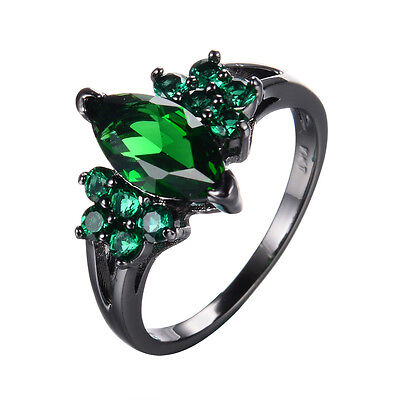 Vintage Marquise Cut Green Emerald Wedding Ring 10KT Black Gold Filled Size 6-9