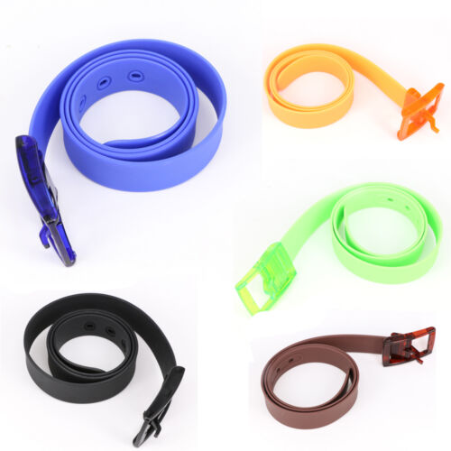 Rubber Leather Belt Smooth Buckle Casual Belts Waistband Silicone Belt