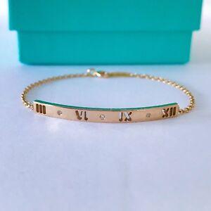 bf0657ad5 Tiffany & Co 18k Rose Gold Diamond Atlas Pierced Bar Bracelet 6 ...