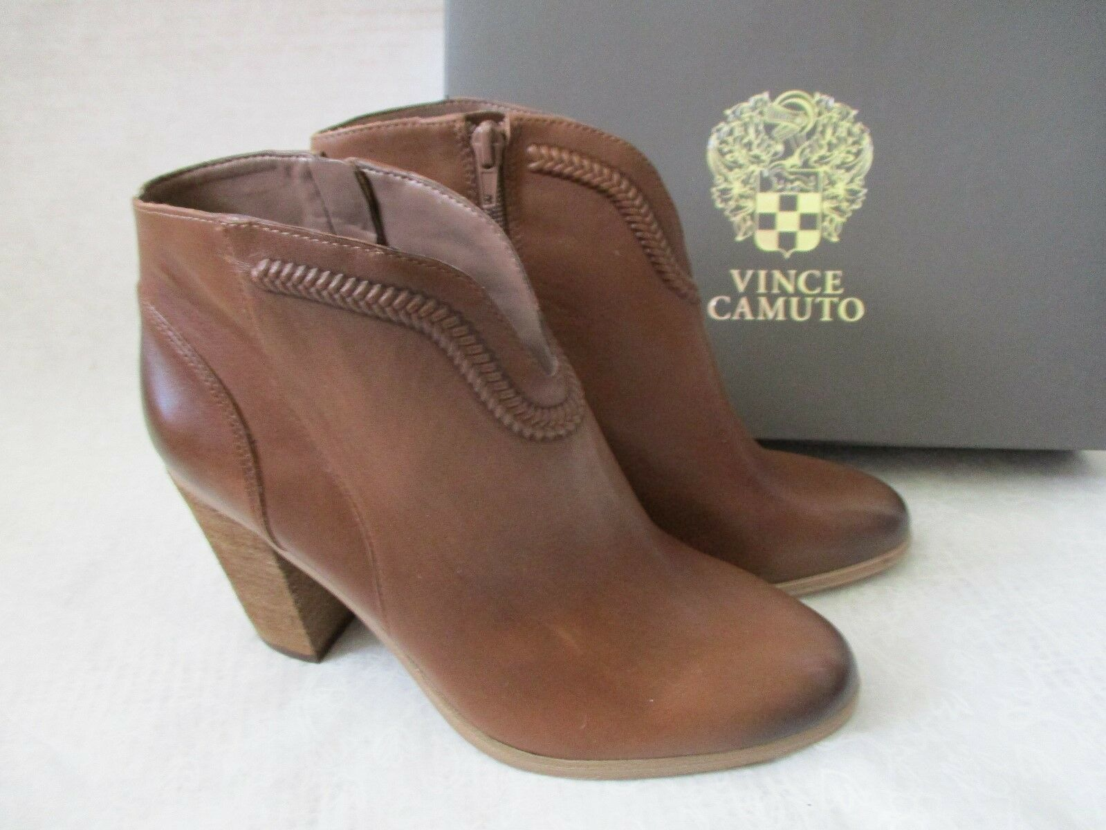 VINCE CAMUTO 100% LEATHER MEDIUM BROWN ANKLE ZIP UP Stiefel SIZE 9 M - NEW W BOX