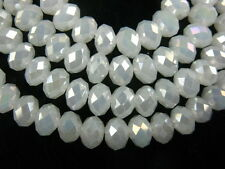 50Pcs Loose Jade White AB Crystal Glass Faceted Rondelle Beads 8x6mm Spacer