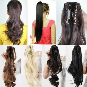 Clip-In-Ponytail-Pony-Tail-Hair-Extension-Claw-On-Hair-Piece-Curly-Straight-gd56