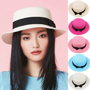 ae7c2785f02 Image is loading Fashionable-Summer-Bowknot-Hat-Women-Casual-Flat-Brim-