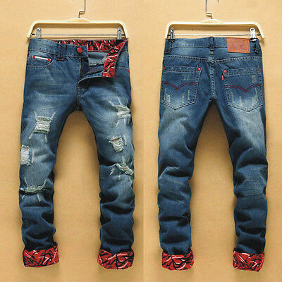 Korean Men's Stylish Straight Jeans Slim Fit Skinny Jeans Trousers Casual Pants