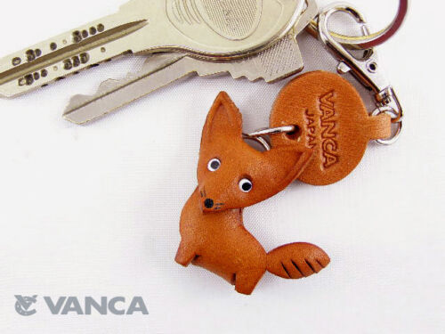 vanca Fox Fait Main 3D Cuir animaux porte-clés//Charme Made in Japan #56205
