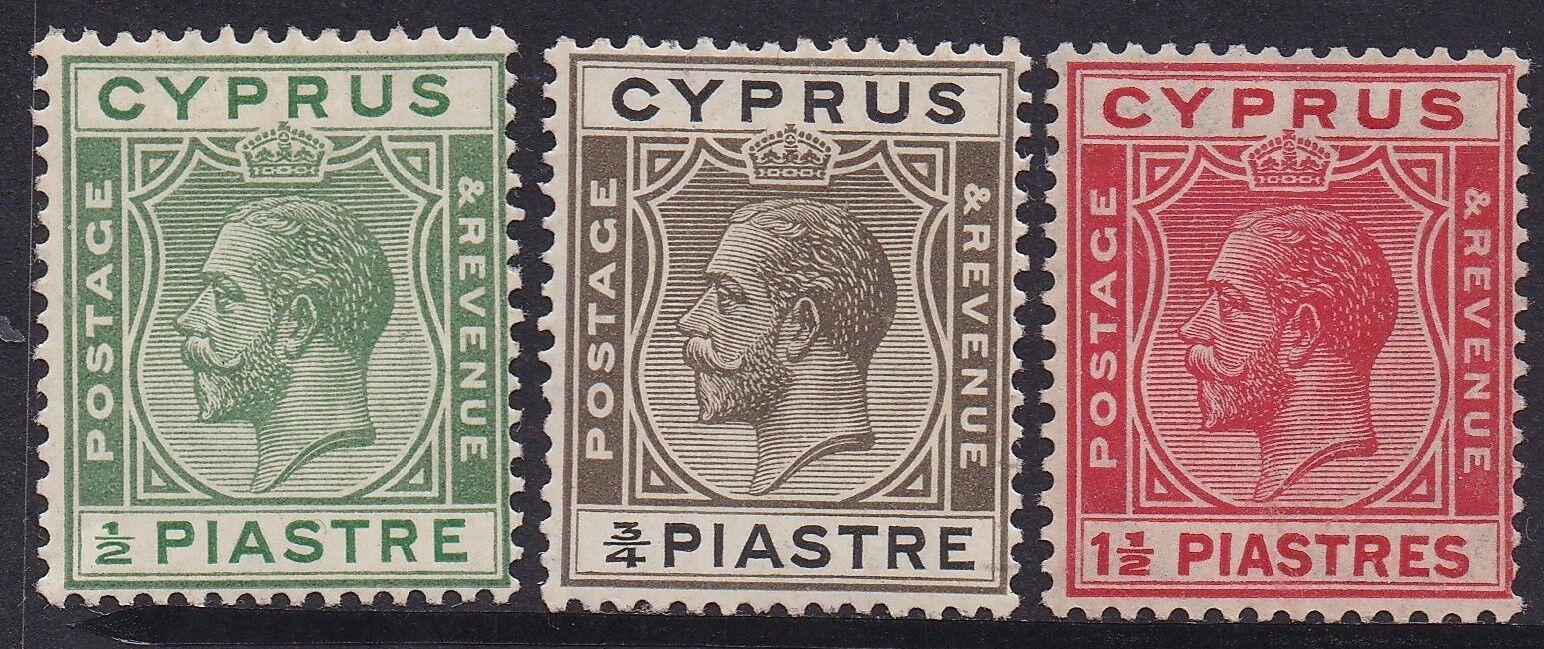 CYPRUS 1925 KGV 1/2PI 3/4PI AND 11/2PI */**