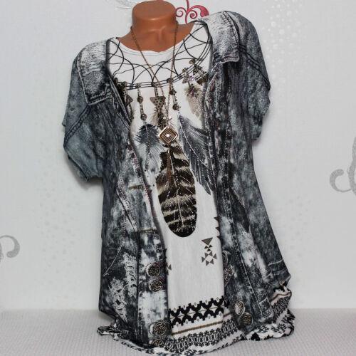 Damen T-Shirt Bluse Top Tunika Glitzer Jeansjacken-Optik Federn 44 46 48