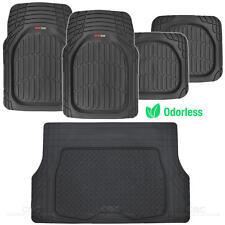 MotorTrend Deep Dish Rubber Floor Mats & Cargo Set - Black - Heavy Duty BPA Free