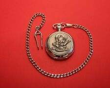 Alice in Wonderland Mad Hatter Pocket Watch Pewter Front Albert Chain Dad Gift
