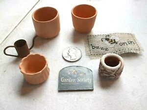 Dollhouse-3-Large-Clay-Terracotta-Pot-Planters-1-12th-Watering-Can-Garden-Sign