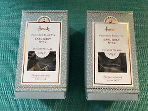 2X Harrods Earl Grey Tea, Silken Tea Bags. 100g
