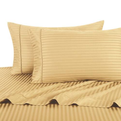 1000 TC 100/% Cotton 2PC Pillowcases Ultra Soft Sateen Stripe Pillow Cases Set