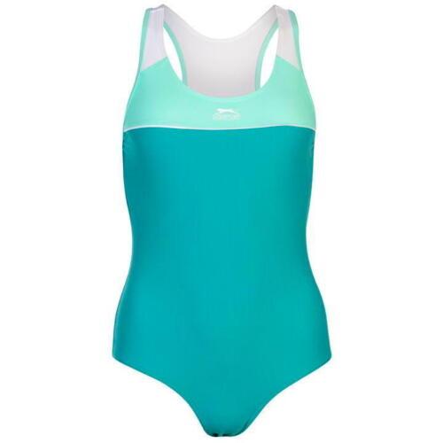 "Slazenger Basic Donna Costume Da Bagno Taglia 10 UK 32/"" Verde"