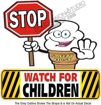 """Children Crossing Safety Sign Decal 22/"""" Concession Ice Cream Food Truck Sticker"""