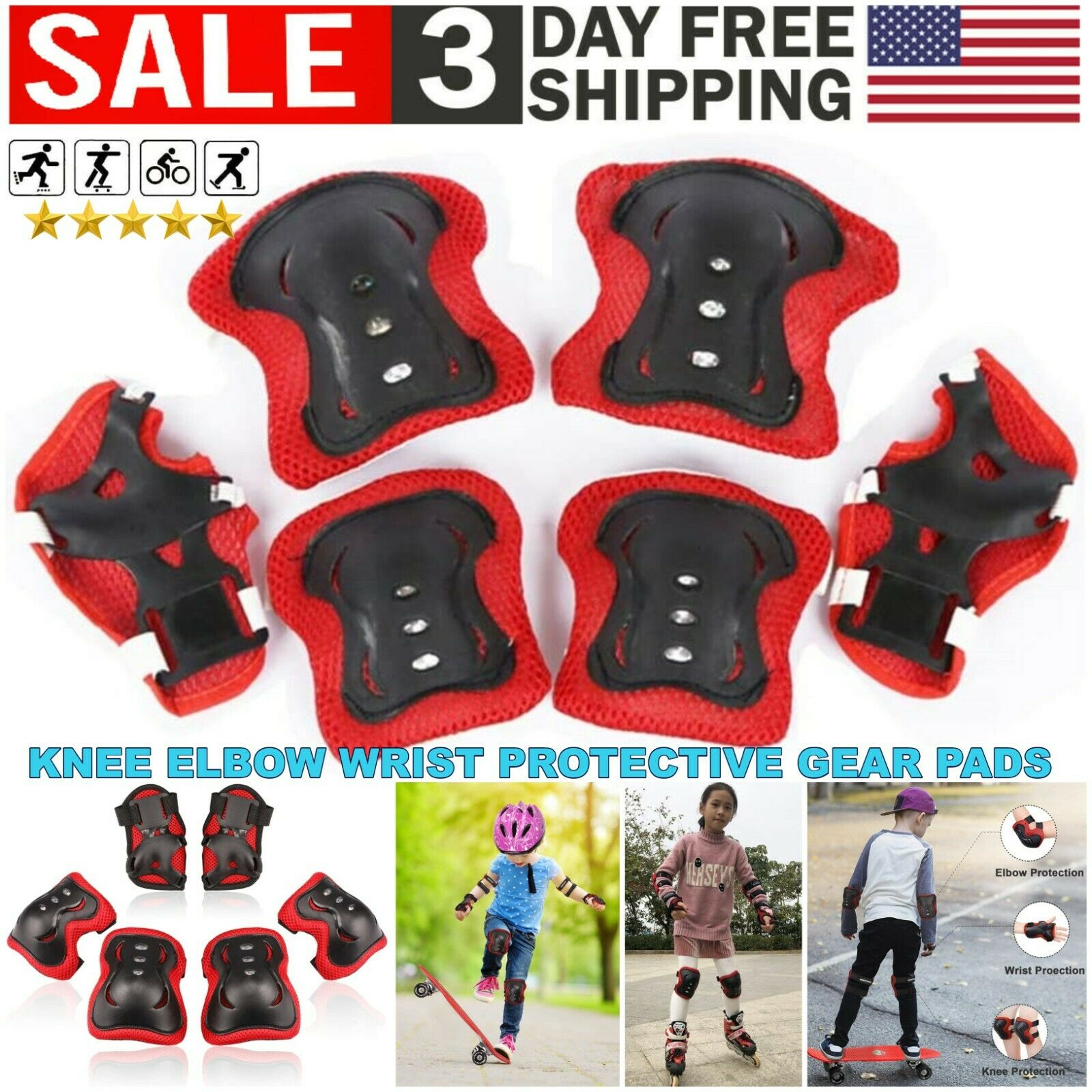 Adults Teens 6PCS Sport Protective Gear Set Knee Pads Kids Knee Elbow Wrist Braces Children Roller Skating Skateboard Sports Safety Knee Support Elbow Pads Wrist Guards Protector for Cycling,BMX Bike