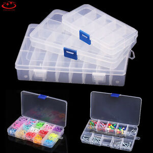 Plastic 15//10//24 Slots Adjustable Jewelry Storage Box Case Craft Organizer BeadF
