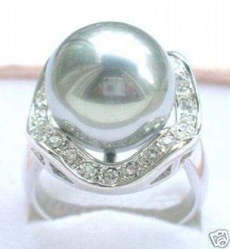 Mesdames gris coquillage perle 18K plaqué or Bagues Femmes charme Bijoux Taille 7//8//9
