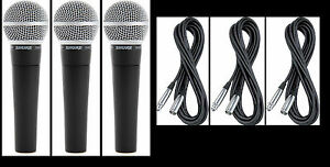 3-New-Shure-SM58-Vocal-Mics-amp-Cables-Authorised-Dealer-Make-Offer-Buy-It-Now