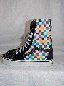 60bbd7b22d49f2 Vans Off The Wall MULTI COLOR Black Checkered Sneakers High Top Size ...