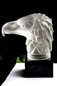 BOHEMIAN-ART-DECO-GLASS-CAR-MASCOT-034-EAGLE-HEAD-034-ON-BLACK-PLINTH