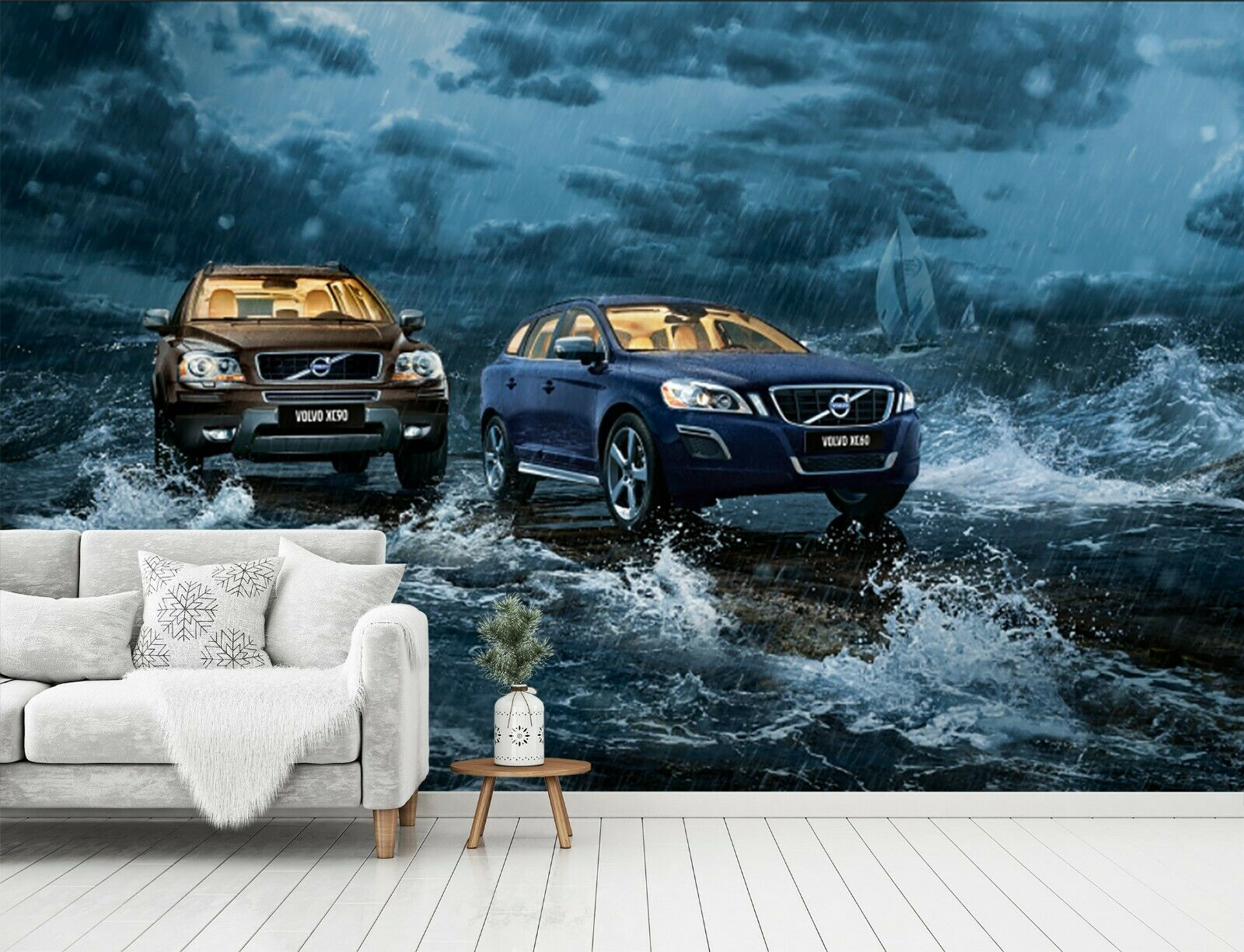 3D Rainy Day Car I38 Transport WandPapier Mural Sefl-adhesive Removable An