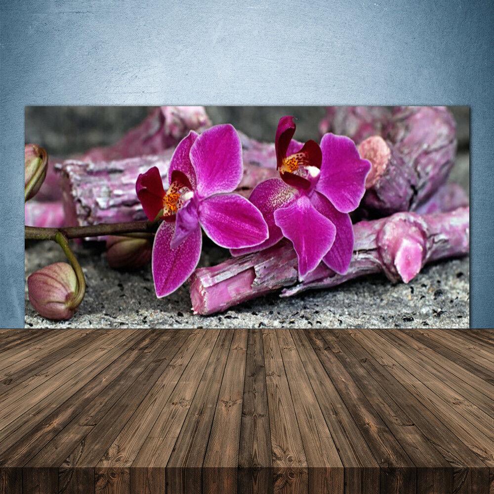 Crédence de cuisine en verre Panneau 140x70 Floral Fleurs Bois