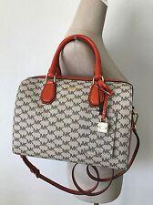 Michael Kors Mercer Medium Duffle Natrual Orange MK Monogram Satchel Handbag NWT